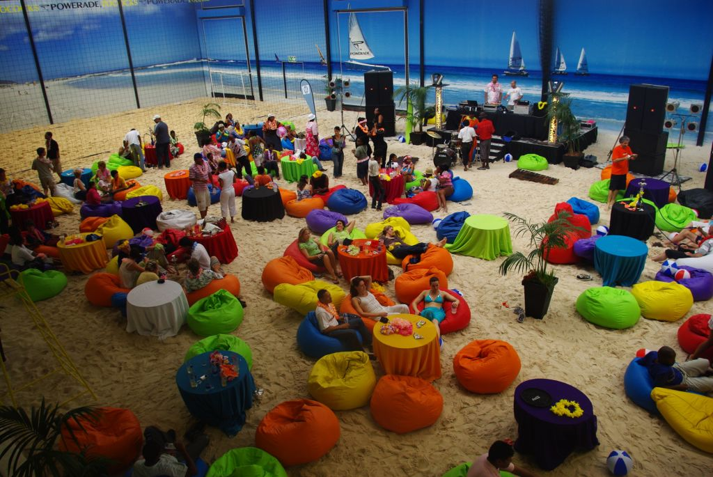 Host your Year End Party at our indoor beach venue with any beach theme you like.